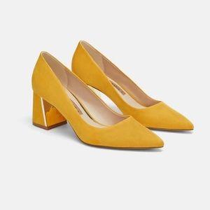 Zara Yellow Suede Block Heels - New 7.5